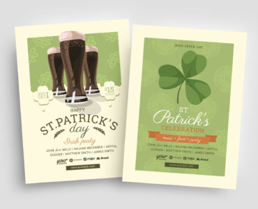 St. Patrick's Day Beer Flyer Templates - Photoshop PSD & Illustrator Ai Vector