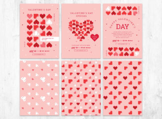 Valentines Day Flyer Template with Geometric Hearts - Photoshop PSD & Illustrator Ai Vector