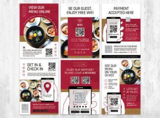 Menu Flyer QR Code Template in PSD & Vector