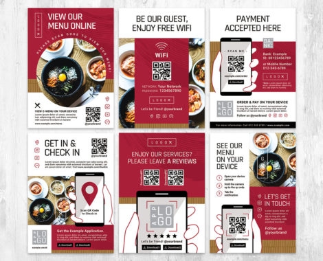 Menu Flyer QR Code Template in PSD & Vector