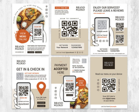 POS QR code Flyer Template in Photoshop PSD & Illustrator Vector