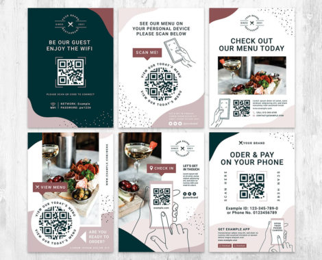 Stylish QR Code Flyer Template for Restaurants, Bars & Cafes - Photoshop & Illustrator