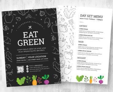 Vegan Cafe Flyer / Menu Template (PSD, Vector, Ai, EPS)