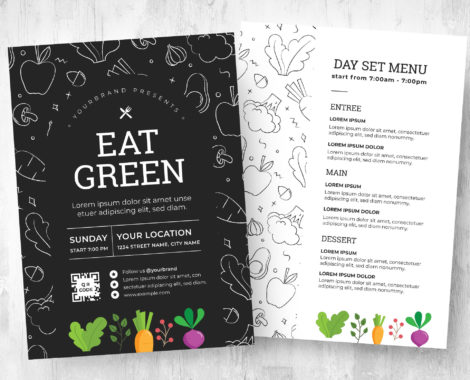 Vegan Cafe Flyer / Menu Template (PSD, Vector, Ai, EPS)