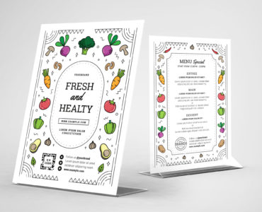 Vegan Flyer Template with Vegetable Illustrations in PSD & Vector