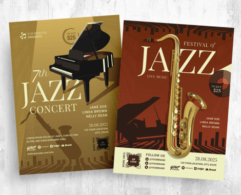 Jazz Music Night Flyer Template - PSD, Ai, EPS, Vector