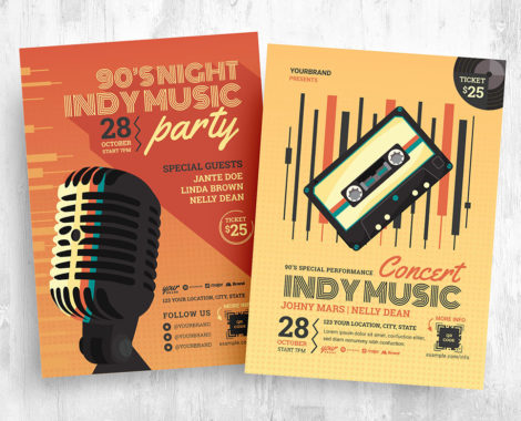 Live Music Night Flyer Template in PSD & Vector
