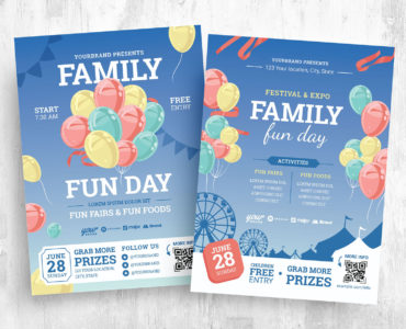 Family Fun Day Flyer Templates in PSD & Vector