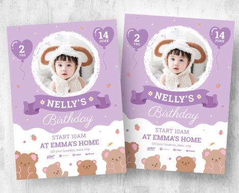 Baby Girl's Birthday Flyer Template (PSD, Ai, Vector)