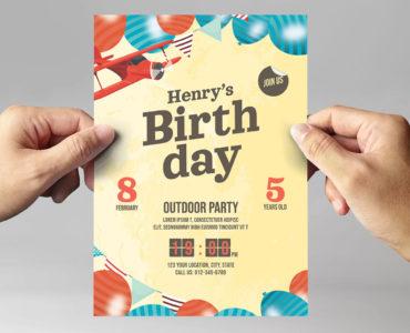 Children's Birthday Party Flyer / Invitation Template (PSD, Ai, Vector)