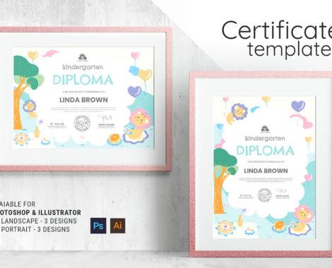 Children's Kindergarten Certificate Template [PSD, Ai, Vector]