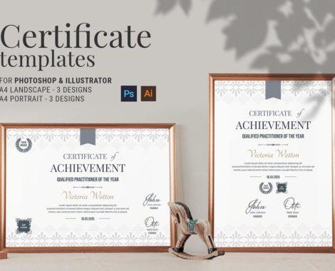 Contemporary Certificate Template (PSD, Ai, Vector)