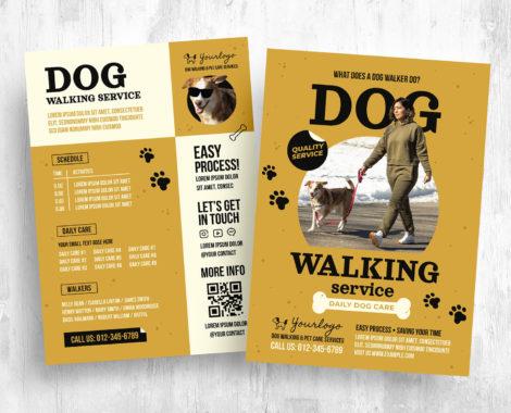 Dog Walking Service Flyer Template [PSD, Ai, Vector]