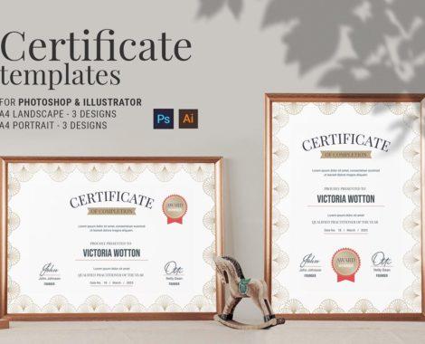 Elegant Deco Certificate Template (PSD, Ai, Vector)