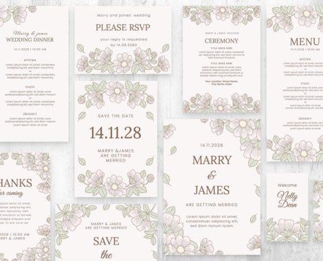 Floral Wedding Invitation Templates (PSD, Ai, Vector, EPS)