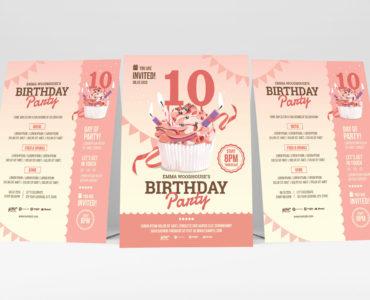 Birthday Flyer With Cupcake Illustration (PSD, Ai, Vector)