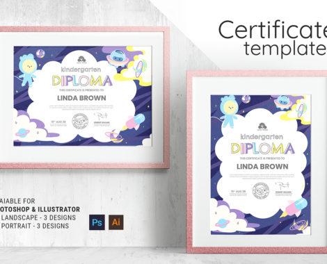 Kindergarten Certificate Template (PSD, Ai, Vector)