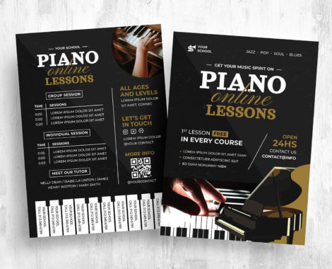 Piano Lessons Flyer Template [PSD, Ai, Vector]