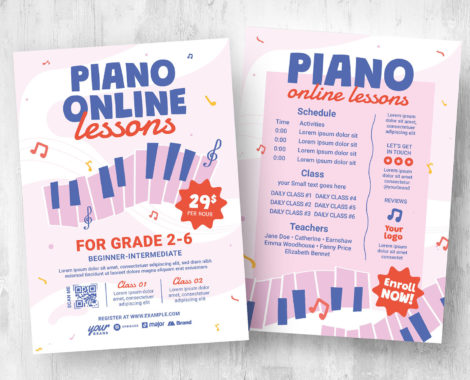 Piano Lesson Flyer Template [PSD, Ai, Vector]