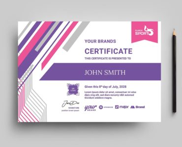 Sports Fitness Certificate Template (PSD, Ai, Vector)