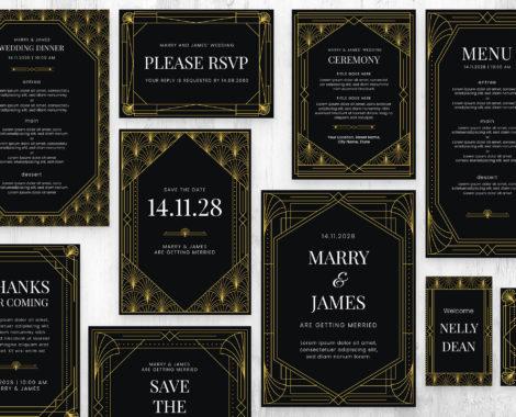 Art Deco Wedding Invite Templates (PSD, Ai, Vector)