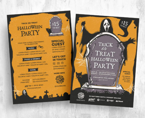 Illustrated Trick or Treat Halloween Flyer Template