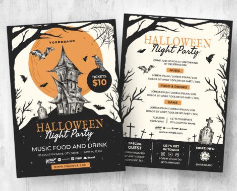 Haunted House Halloween Flyer Template [PSD, Ai, Vector]