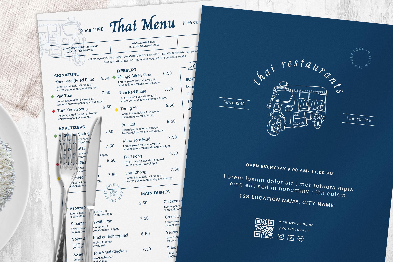 Thai Restaurant Food Menu Template (PSD, Ai, Vector, INDD)
