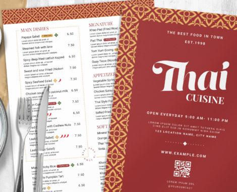 Thai Restaurant Menu Template (PSD, AI, INDD)