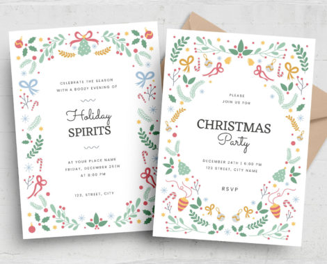 Ornate Christmas Greetings Flyers (PSD, AI, Vector Formats)