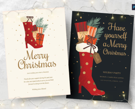Christmas Card Flyer with Festive Stocking (PSD, AI, Vector Formats)