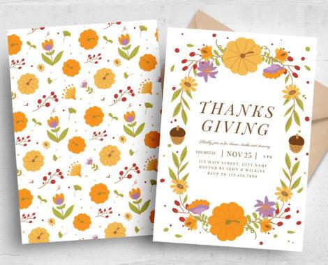 Thanksgiving Flyer Autumnal Border (PSD, AI, Vector Formats)