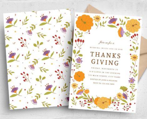 Thanksgiving Greetings Card Invitation (PSD, AI, Vector Formats)