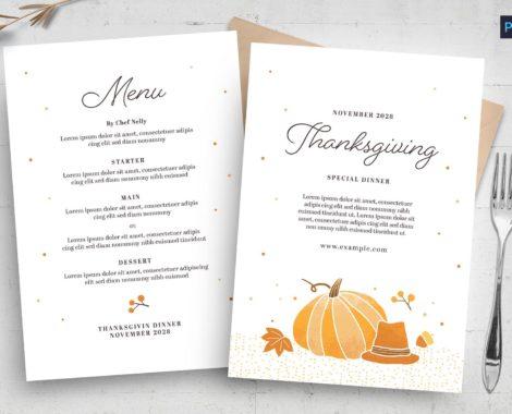 Minimal Thanksgiving Menu Template (PSD, AI, Vector Formats)