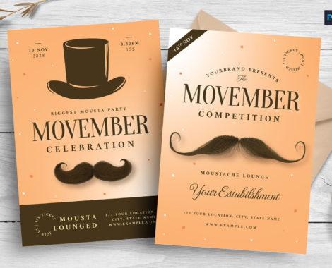 Movember Mustache Flyer Templates (PSD, AI, Vector Formats)