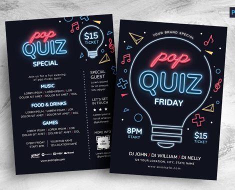 Pop Quiz Night Flyer Template (PSD, AI, Vector Formats)