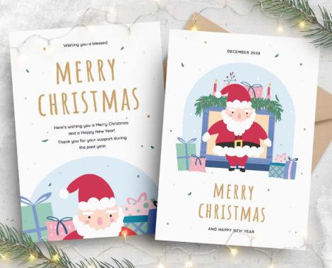 Christmas Flyer Santa Illustration (PSD, AI, Vector Formats)